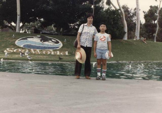 Me and Mom at Sea World, hoping Shamu doesn't eat us. Like my t-shirt? Who ya gonna call?